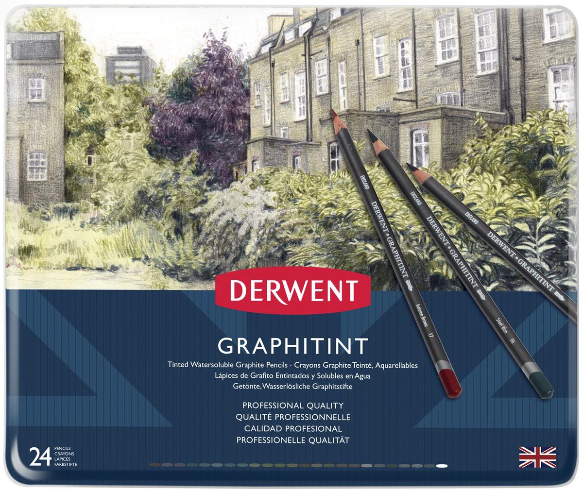 Derwent Набор акварельных карандашей Graphitint 24 цвета конструктор picn mix 698 grey green 698 grey green