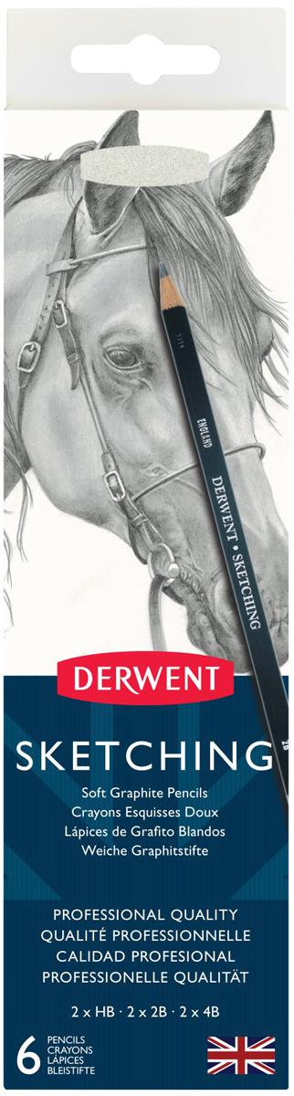Derwent Набор чернографитных карандашей Sketching 6 шт с точилкой derwent набор карандашей procolour 24 цвета