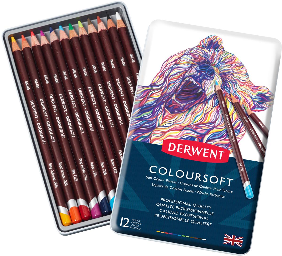 Derwent Набор цветных карандашей Coloursoft 12 цветов derwent набор цветных карандашей coloursoft 48 цветов