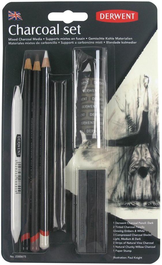 Набор угольных карандашей Derwent Charcoal, 10 предметов кисть 2 пони художественная круглая 2 штуки в блистере