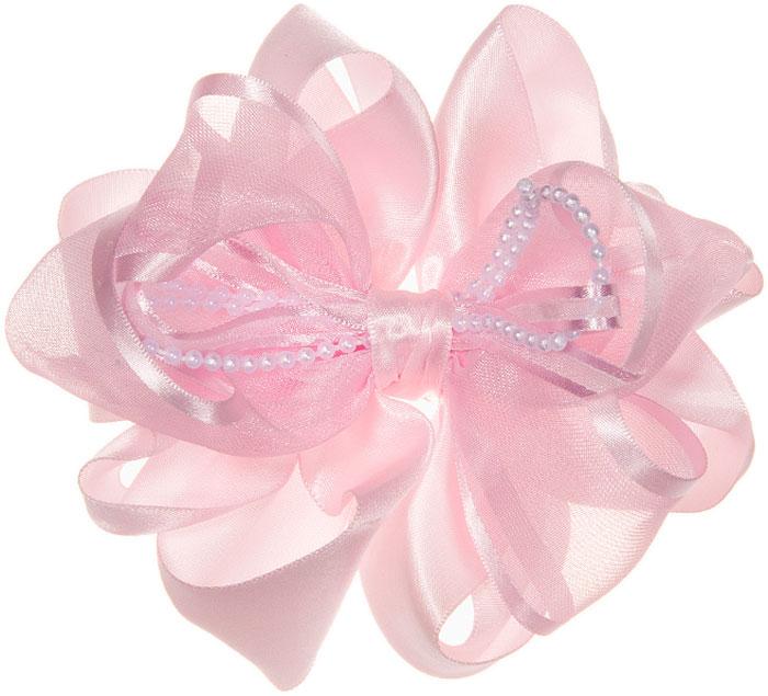 Бант для волос Babys Joy, цвет: розовый. MN 203_бант_1MN 203_бант_1Бант для волос, на резинке. Изготовлен из атласной и капроновой лент. Украшен бусами на нитке.