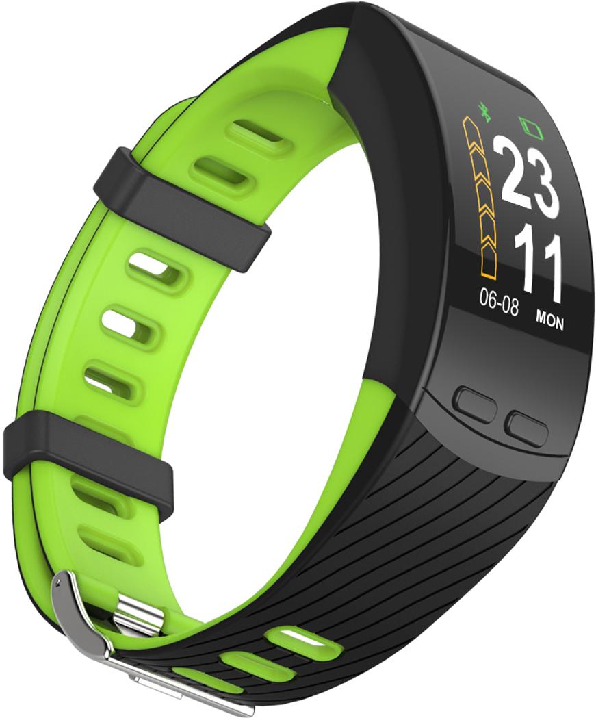 Фитнес-браслет Qumann QSB X, зеленый, черный фитнес браслет qumann qsb 12 синий черный