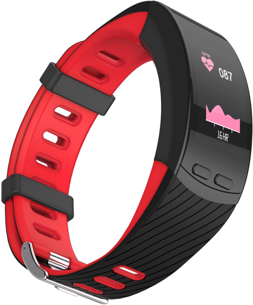 Фитнес-браслет Qumann QSB X, красный, черный фитнес браслет qumann qsb 12 синий черный