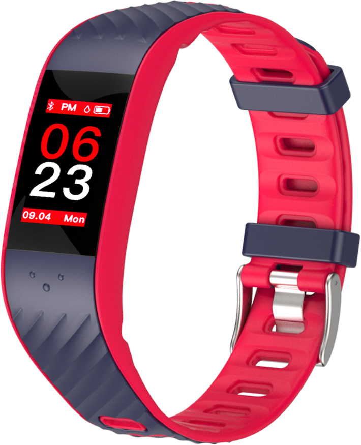 Фитнес-браслет Qumann QSB 12, темно-синий, красный фитнес браслет qumann qsb 12 синий черный