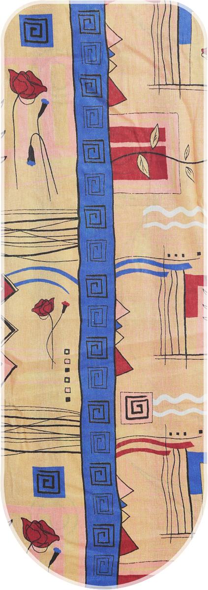 Чехол для гладильной доски Eva Полоска, цвет: коричневый, синий, 129 х 45 см чехол для гладильной доски eva с поролоном цвет бежевый синий бордовый 119 х 37 см