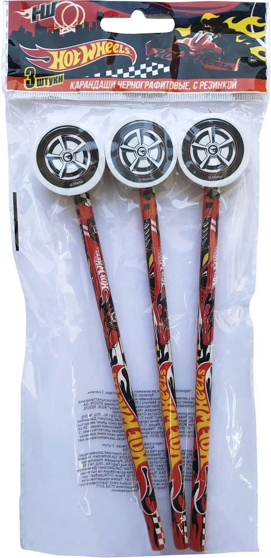 Mattel Карандаш чернографитный Hot Wheels с фигурной резинкой 3 шт