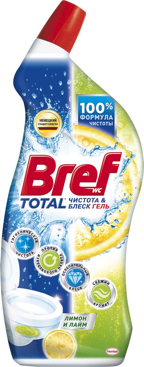 Чистящий гель для туалета Bref Total Чистота и блеск, лимон, 700 мл чистящее средство для унитаза bref сила актив с хлор компонентом 50г