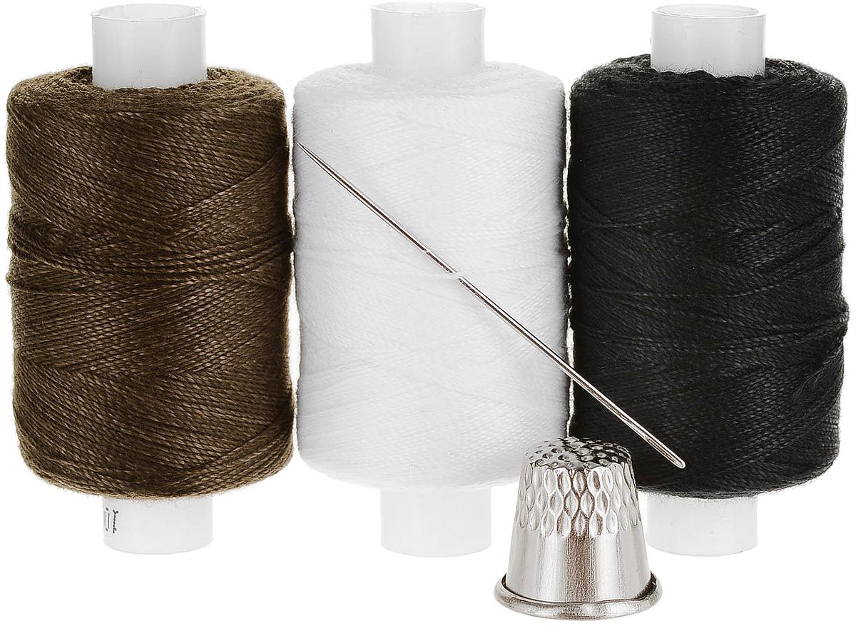 """Набор ниток """"Мастеровой"""", цвет: белый, коричневый, черный, длина 200 м, 3 шт"""