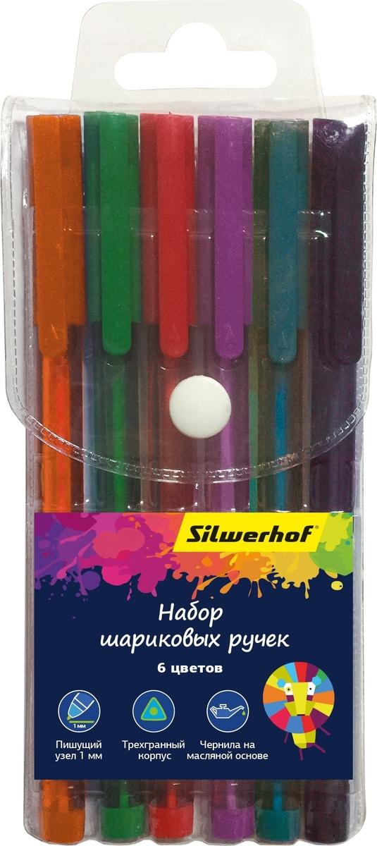 Silwerhof Набор шариковых ручек на масленной основе 6 цветов 026155-06 набор текстовыделителей silwerhof prime 4 цвета 108031 00