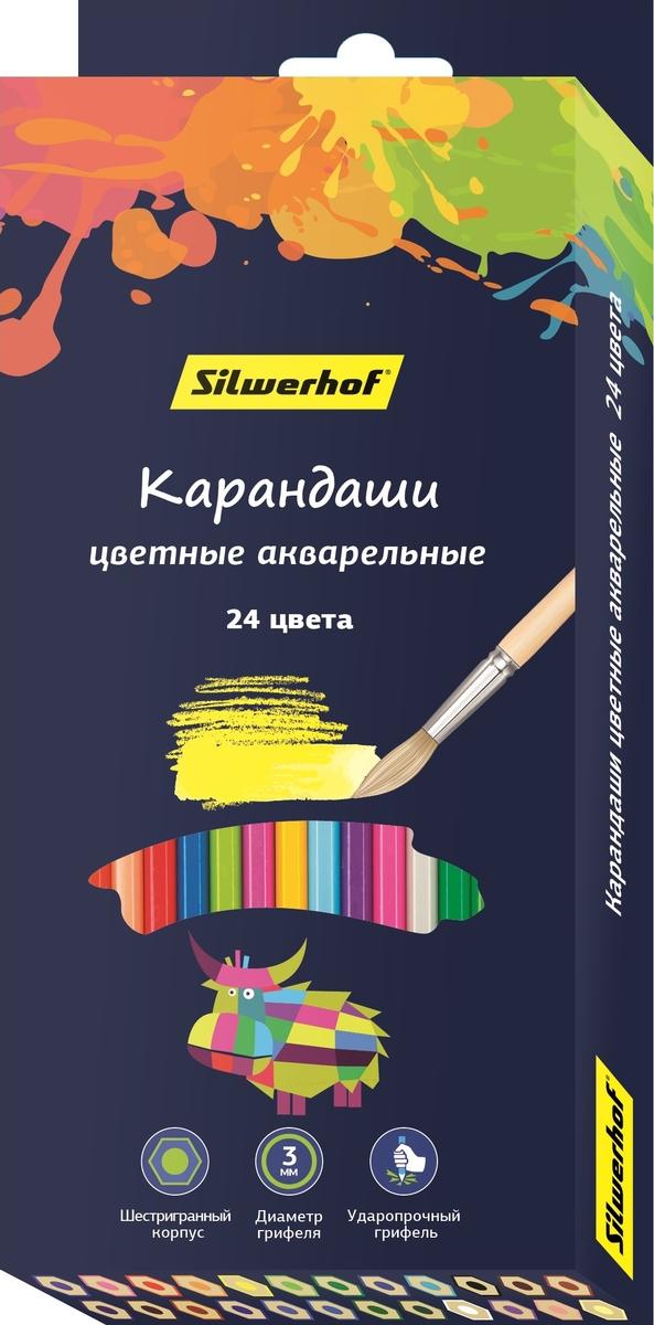 Silwerhof Набор цветных акварельных карандашей 2B 24 шт 134213-24 карандаши цветные silwerhof 24 цвета 134213 24
