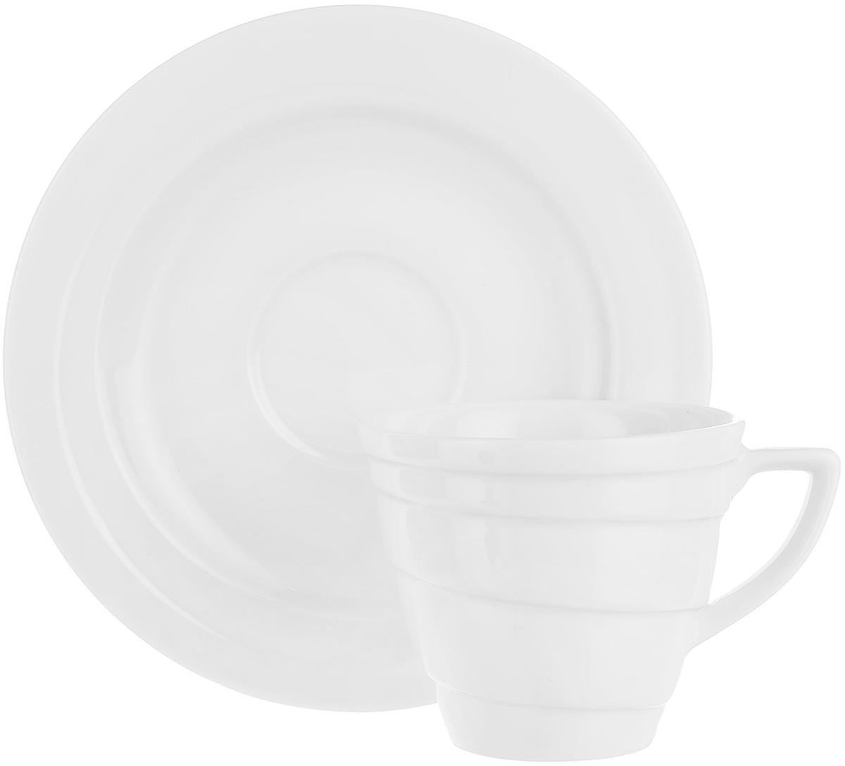"""Чашка для кофе BergHOFF """"Hotel"""", с блюдцем, цвет: голубой, 180 мл, 2 предмета"""