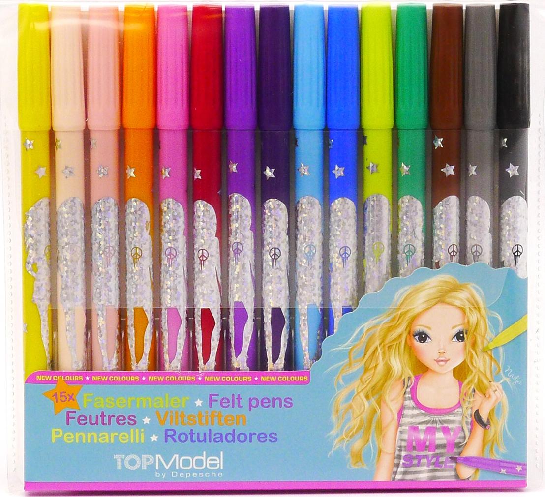 Depesche Цветные фломастеры TOPModel 15 цветов набор письменных принадлежностей depesche topmodel макияж liv 045675 005675