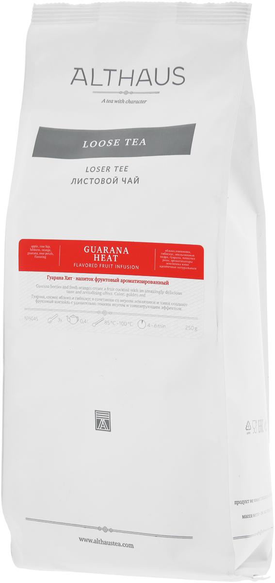Althaus Guarana Heat фруктовый листовой чай, 250 г энергетический напиток bbb guarana shots вишня 20 ампул 1500 мг в ампуле