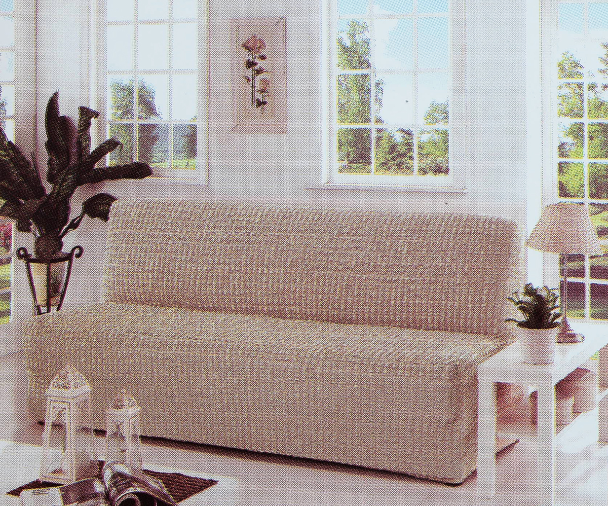 Чехол для трехместного дивана Karna, без подлокотников, без юбки, цвет: кофейный.2650/CHAR004 чехол для двухместного дивана без подлокотников karna 2649 char006