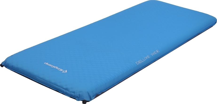 Коврик самонадувающийся KingCamp Delux Wide, цвет: синий, 198 х 76 см