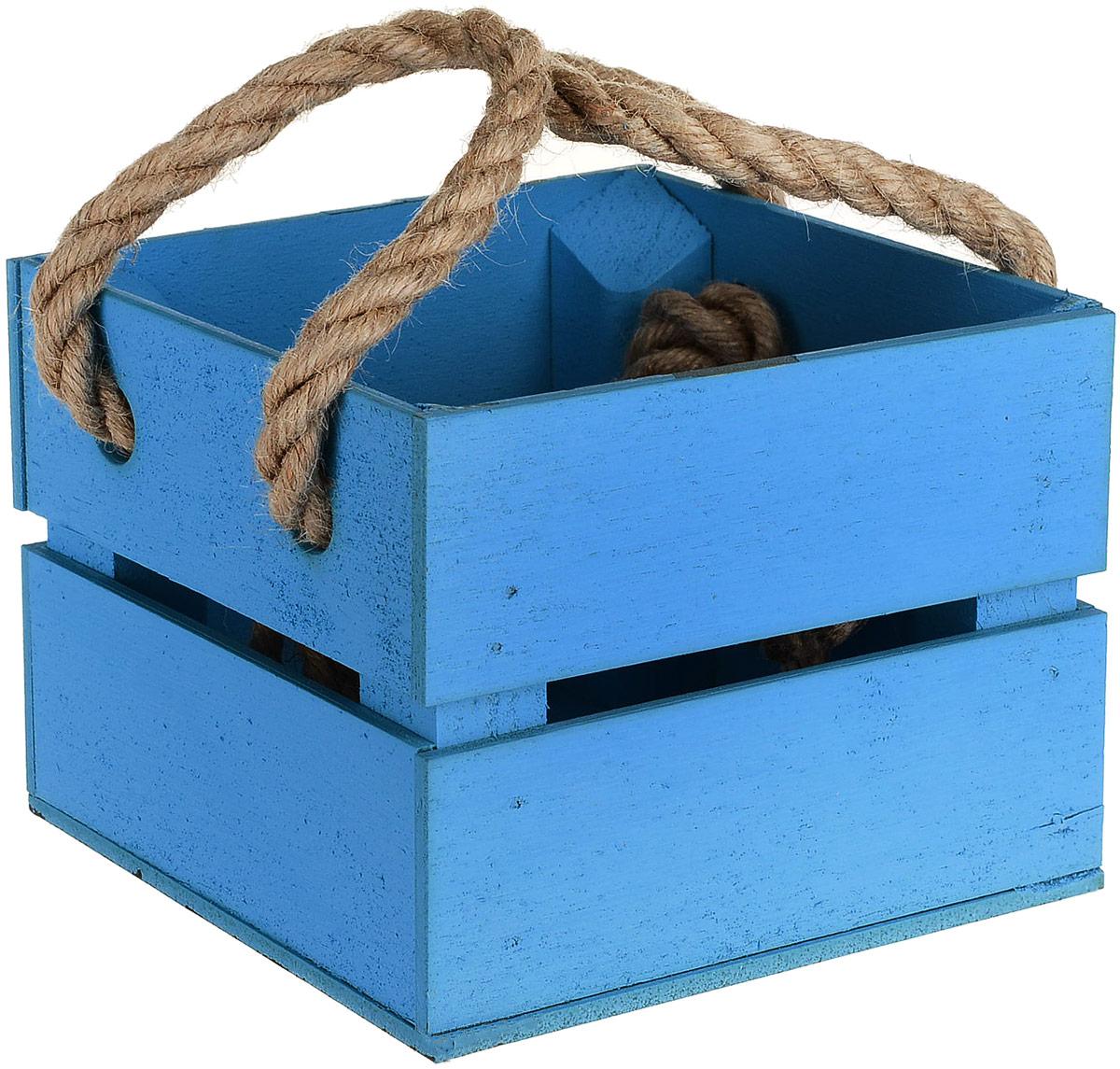 Кашпо ТД ДМ Ящик, цвет: голубой, 11 х 12 х 9 см кашпо тд дм ящик любовь флористическое 20 х 16 х 9 5 см