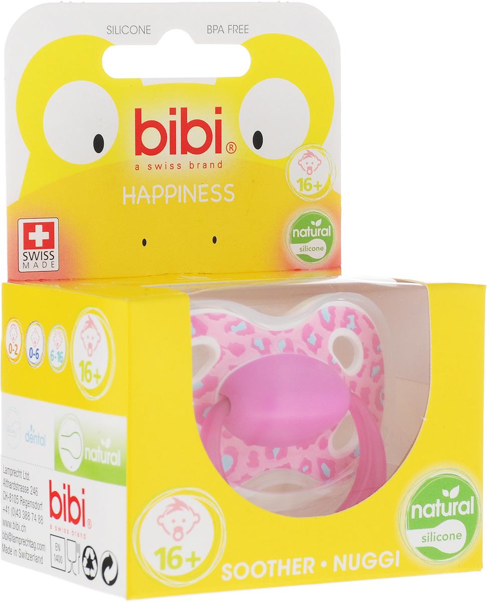 Bibi Пустышка силиконовая Happiness Ring Wild Baby от 16 месяцев цвет розовый