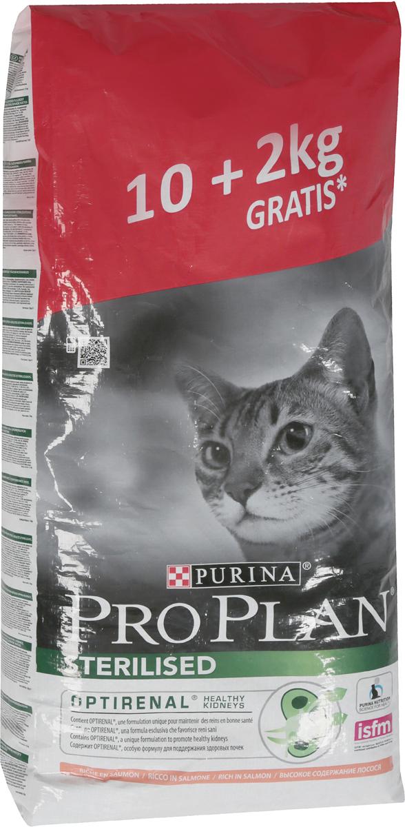"""Сухой корм """"Pro Plan"""" для стерилизованных кошек и кастрированных котов, с лососем, 10 + 2 кг"""