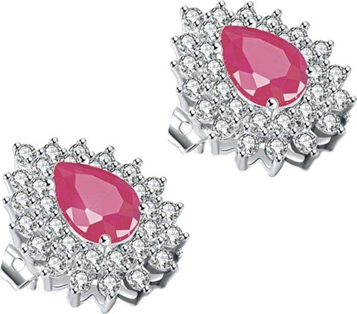 Серьги Ice&High, цвет: серебряный, белый, розовый. ZS888649P жен крупногабаритные прочее стразы серьги слезки секси крупногабаритные мода серебряный лиловый розовый волны серьги назначение
