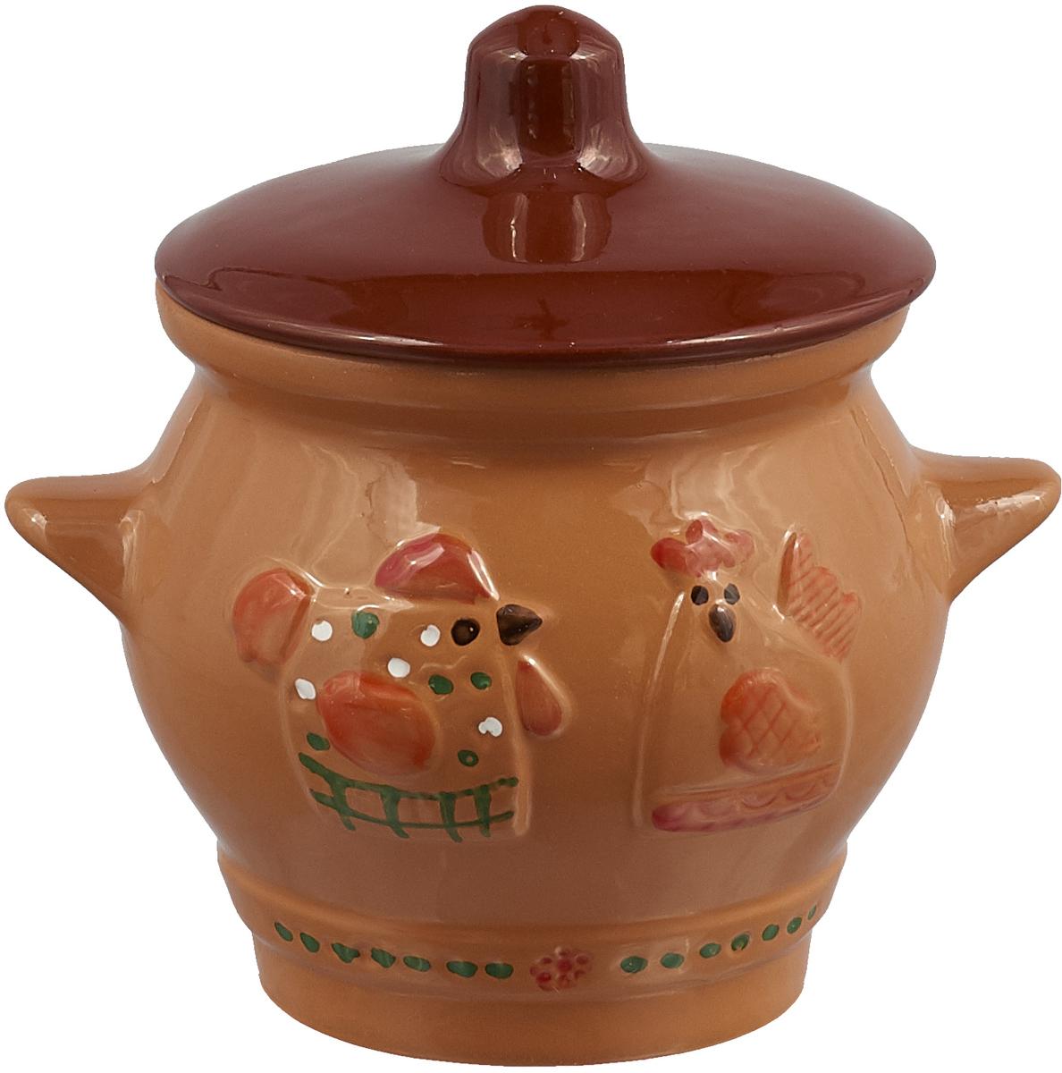 Горшочек для запекания Борисовская керамика Кукареку, 550 мл горшочек для запекания борисовская керамика мечта хозяйки цвет зеленый розовый 350 мл