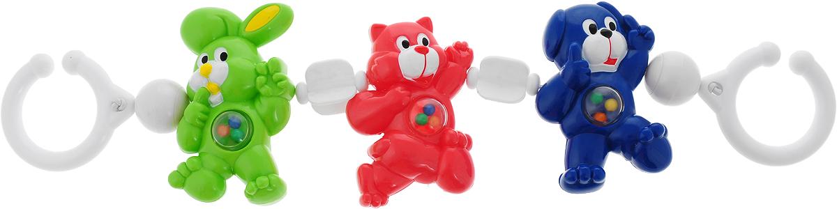 Canpol Babies Игрушка подвесная с погремушкой Зайка кошка собачка цвет зеленый розовый синий250989092_зеленый, розовый, синий