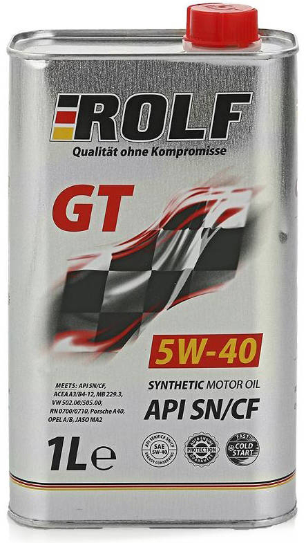 Масло моторное ROLF GT SAE 5W-40, цвет: коричневый, 4 л масло моторное rolf dynamic sae 10w 40 api sj cf 4 л