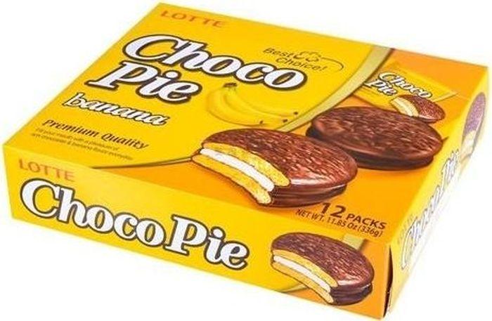 Lotte Choco Pie печенье прослоенное глазированное со вкусом банана, 336 г