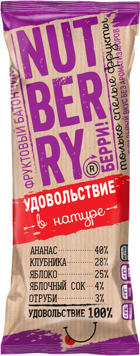NutberryФруктовый батончикананас клубника, 30 г nutberryфруктовый батончикфиник абрикос 30г