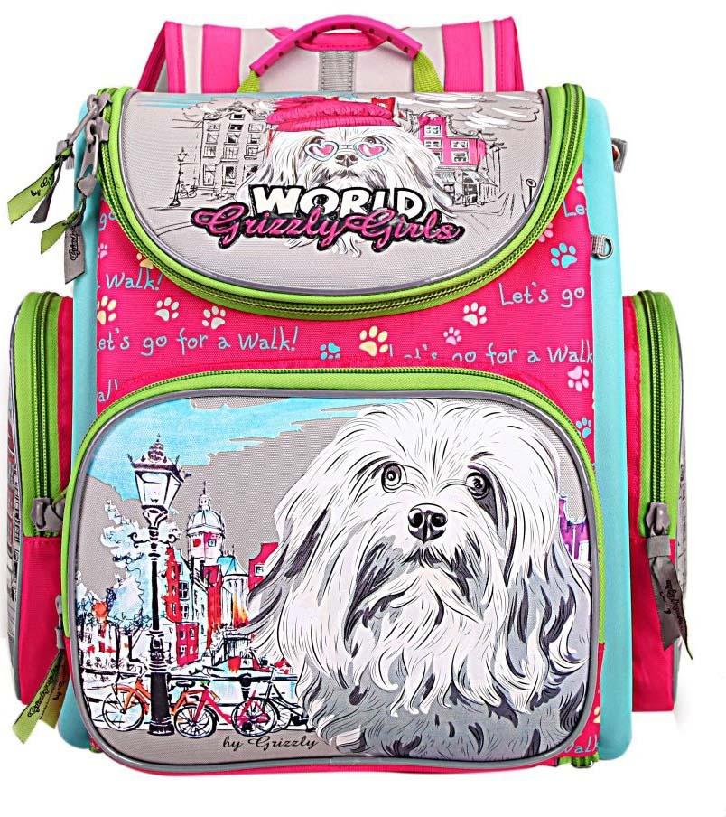 все цены на Grizzly Рюкзак школьный с мешком цвет фуксия RA-871-1/1 онлайн