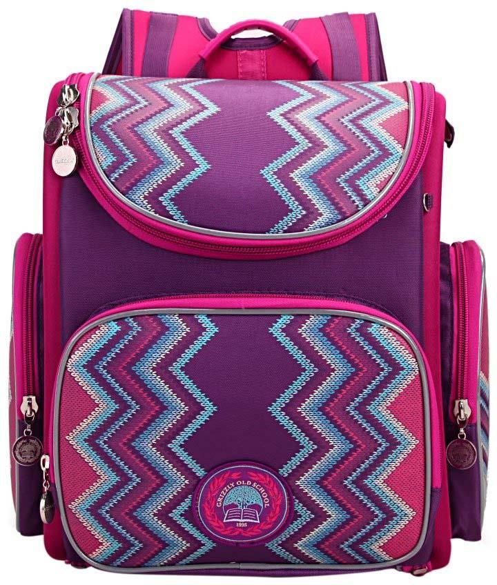 все цены на Grizzly Рюкзак школьный с мешком цвет фиолетовый RA-871-6/1 онлайн