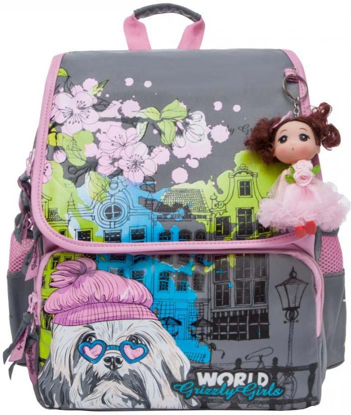 Grizzly Рюкзак школьный цвет серый розовый RA-877-1/2 рюкзак grizzly ra 875 1 1 violet turquoise