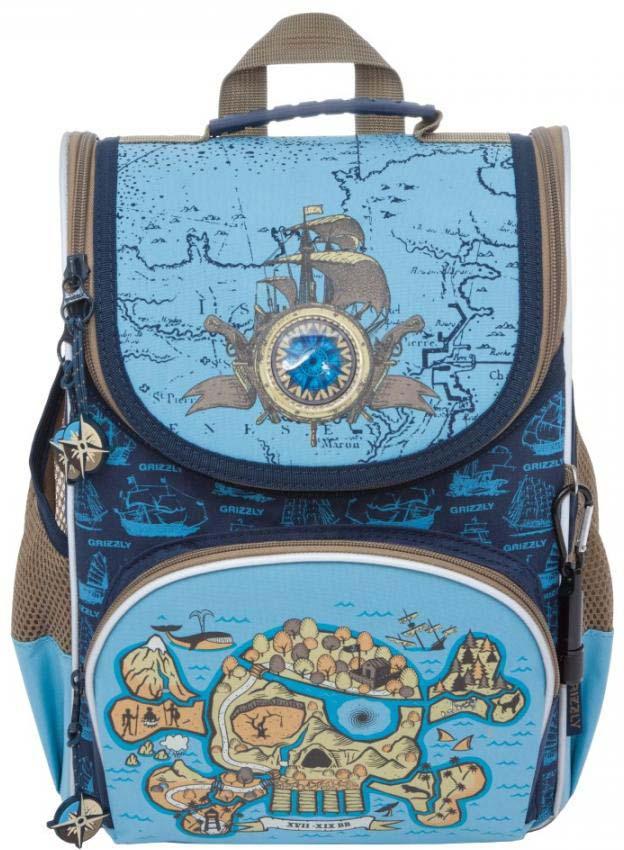 все цены на Grizzly Рюкзак школьный с мешком цвет синий голубой RA-872-1/1 онлайн