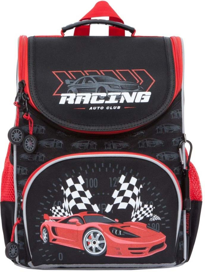 все цены на Grizzly Рюкзак школьный с мешком цвет черный красный RA-872-3/2 онлайн