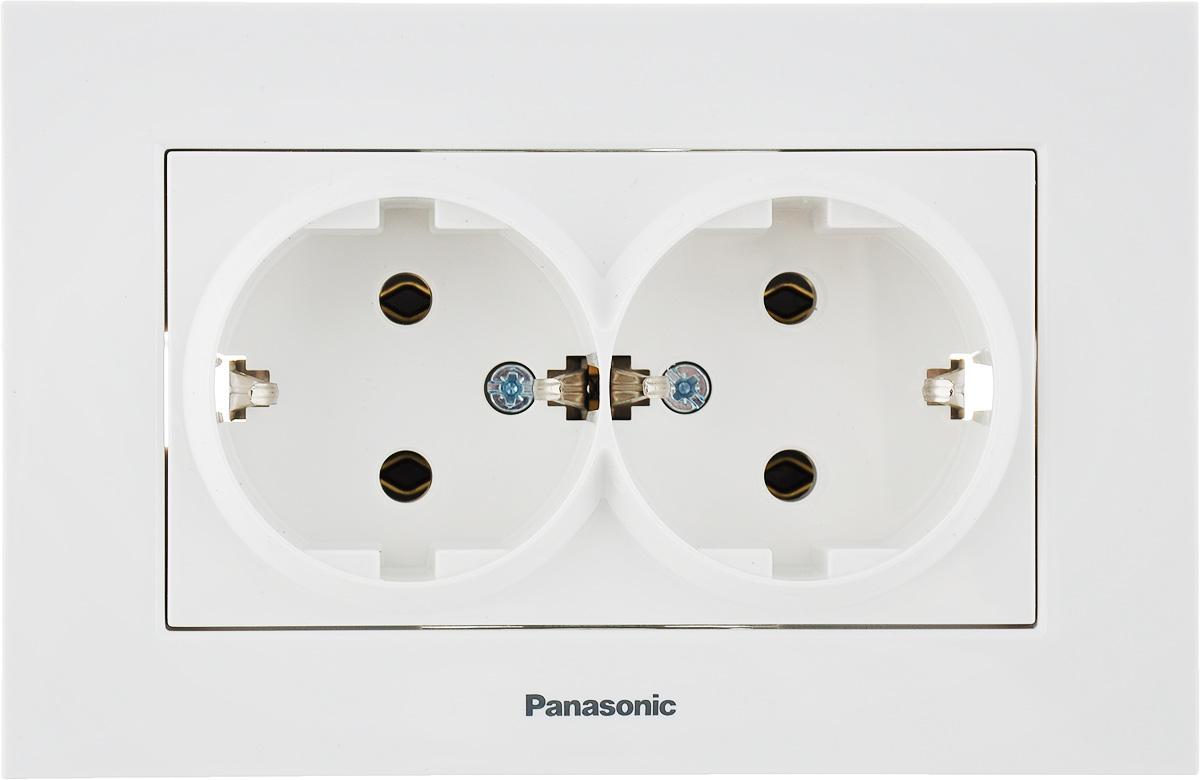Фото - Розетка Panasonic Karre Plus, двухместная, с заземлением розетка panasonic karre plus одинарная с заземлением цвет темно серый 16 а 54860