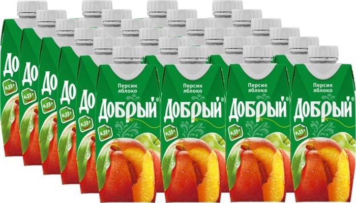 Нектар Добрый Персик Яблоко, 24 шт по 0,33 л нектар добрый мультифрут