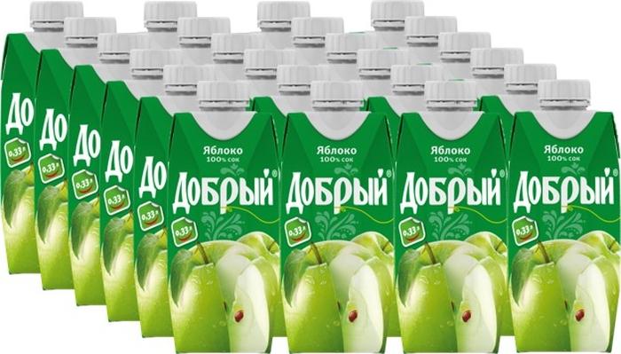 Сок Добрый Яблочный, 24 шт по 0,33 л