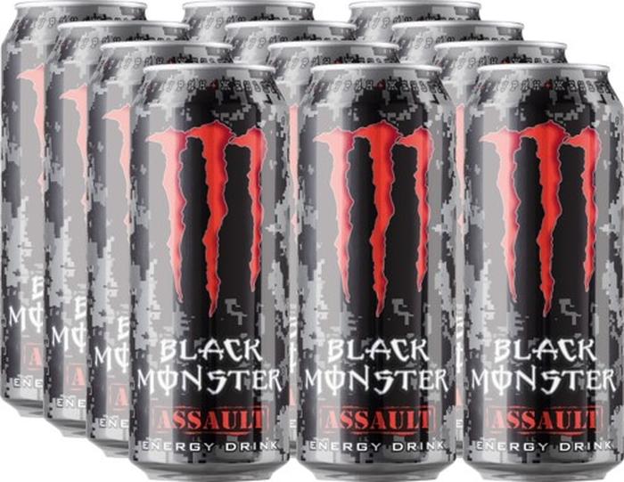 Black Monster Assault энергетический напиток, 12 штук по 0.5 л