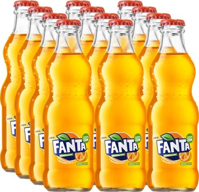 Fanta Апельсин напиток сильногазированный, 12 штук по 0.25 л