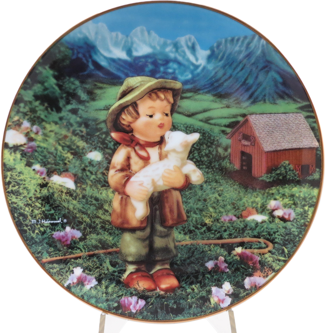 Декоративная коллекционная тарелка Нежные Друзья: Заблудившаяся Овечка. Фарфор, деколь, золочение, США, Хуммель, Danbury Mint, 1990