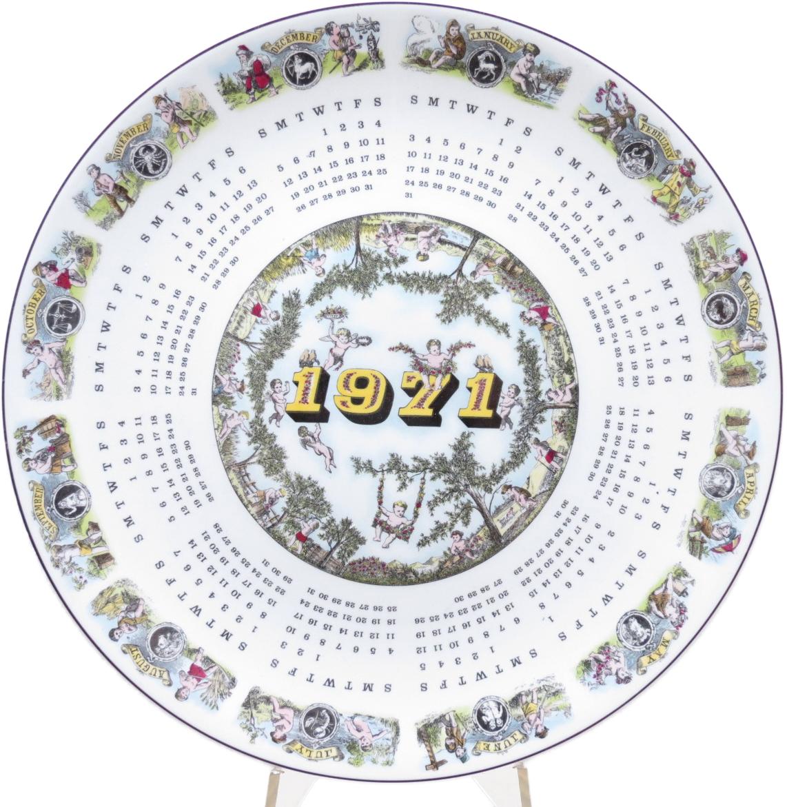 Декоративная коллекционная тарелка Календарь 1971. Фарфор, деколь. Великобритания, Wedgwood of Etruria & Barlaston, 1971 декоративная коллекционная тарелка календарь 1971 фарфор деколь великобритания wedgwood of etruria