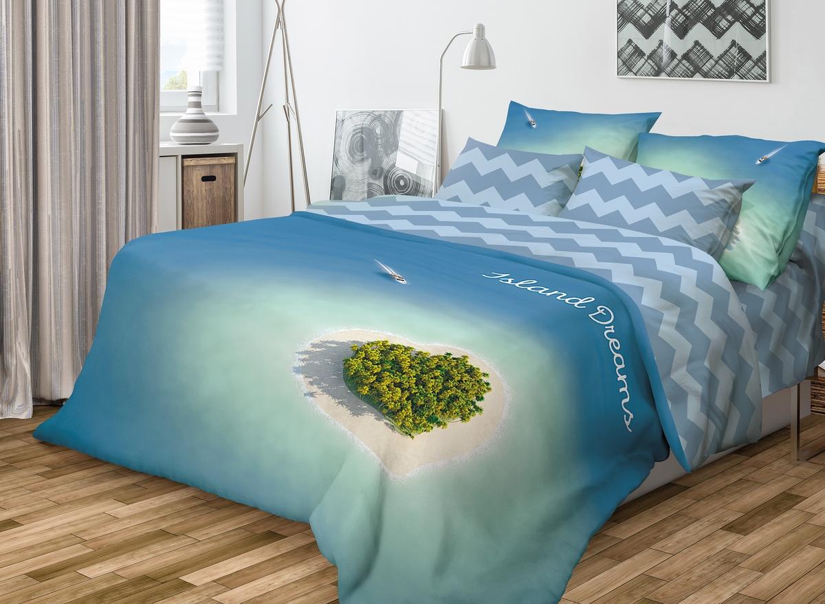 Комплект белья Волшебная ночь Island Dreams, 2-спальный с простыней на резинке, наволочки 70х70, цвет: лазурный. 710571 luxberry комплект постельного белья sea dreams