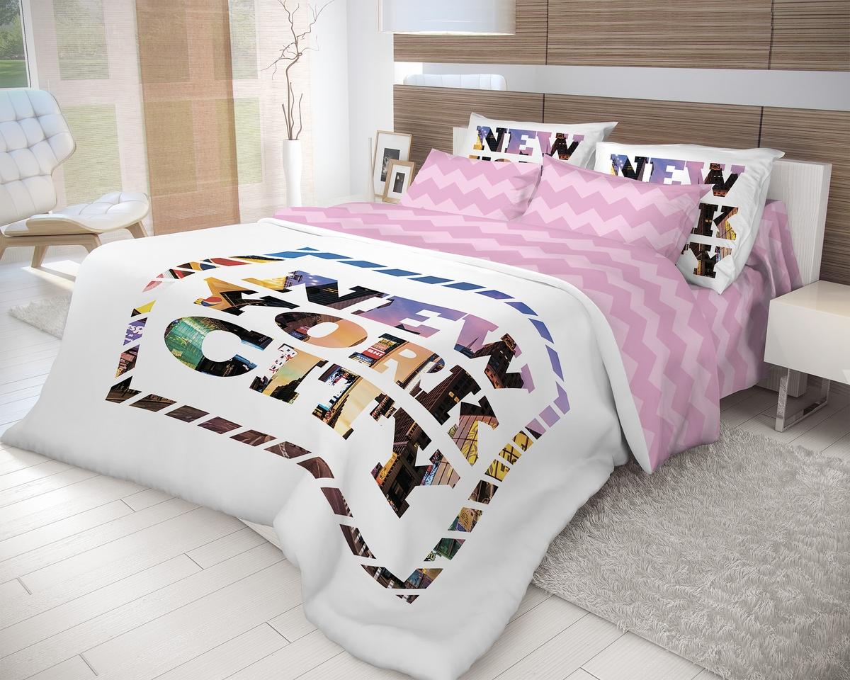 """Комплект белья Волшебная ночь """"New York"""", 1,5-спальный, наволочки 50x70, цвет: белый, розовый"""