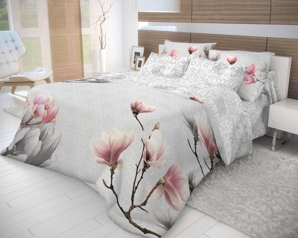 """Комплект белья Волшебная ночь """"Cameo"""", 1,5-спальный, наволочки 50x70, цвет: белый, серый, розовый. 702255"""