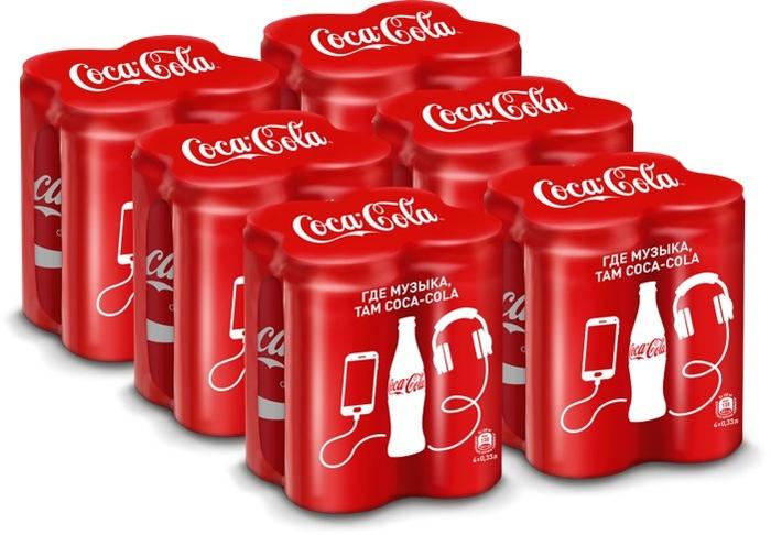 Напиток сильногазированный Coca-Cola Мультипак 4 шт х 0,33 л, 6 шт