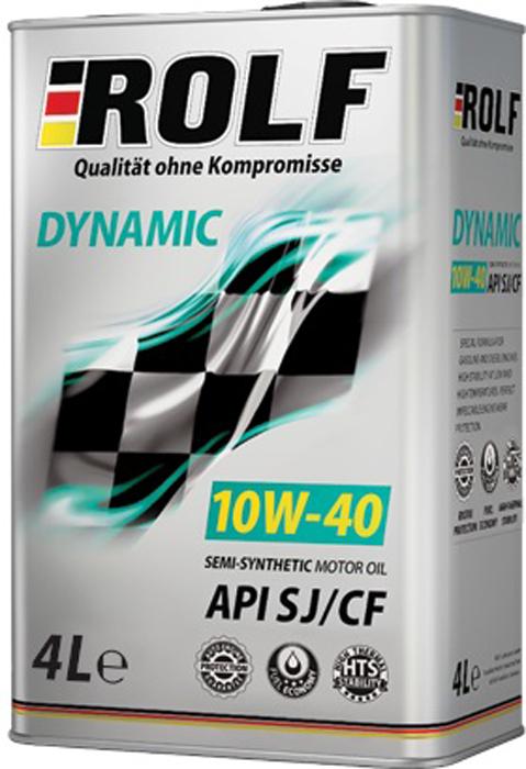 Масло моторное ROLF Dynamic SAE 10W-40 API SJ/CF, 4 л масло моторное rolf dynamic sae 10w 40 api sj cf 4 л