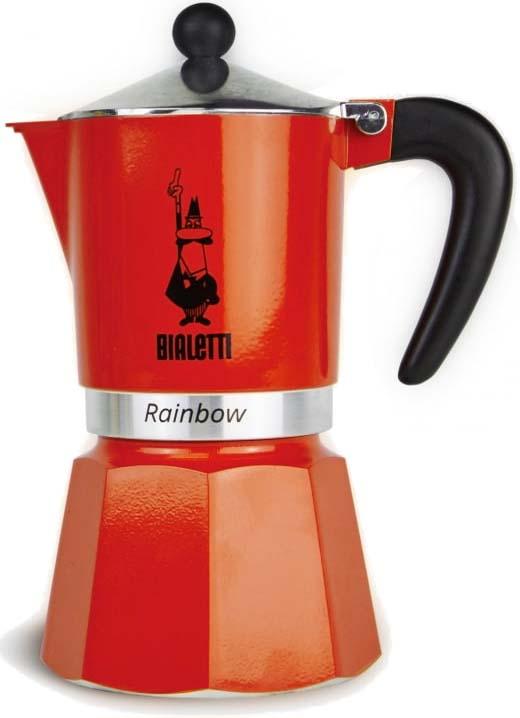 Кофеварка гейзерная Bialetti Rainbow, цвет: красный, на 3 чашки гейзерная кофеварка bialetti fiametta 5352 фиолетовый