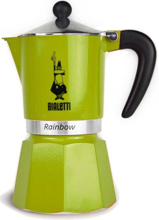 Кофеварка гейзерная Bialetti Rainbow, цвет: зеленый, на 3 чашки кофеварка гейзерная bialetti moka induzione 3 порции сталь 4922