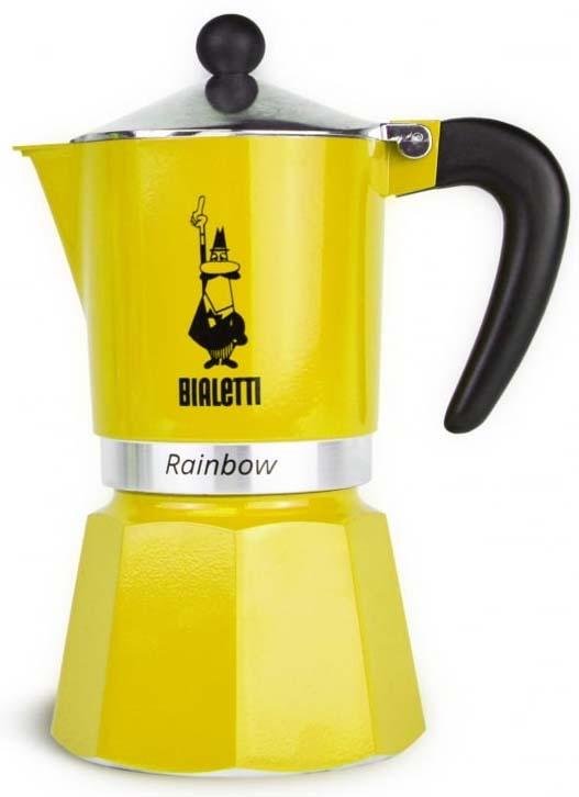 Кофеварка гейзерная Bialetti Rainbow, цвет: желтый, на 3 чашки кофеварка гейзерная bialetti moka induzione 3 порции сталь 4922
