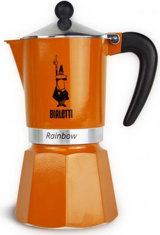 Кофеварка гейзерная Bialetti Rainbow, цвет: оранжевый, на 6 чашек кофеварка гейзерная bialetti moka induzione 3 порции сталь 4922