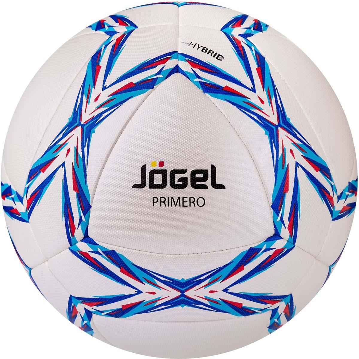 Мяч футбольный Jogel Primero, цвет: голубой, синий, красный. Размер 5. JS-910